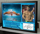 Michael Phelps Framed Canvas Print Signed.