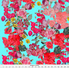 Vintage Inspired Blue Pink Flower Floral Fabric Printed by Spoonflower BTY