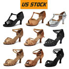 Women Girls Tango Ballroom Latin Salsa Waltz Heeled Dance Shoes 80128 US WH