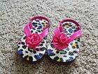 Toddler Girl Multi Colored Print Sandal with Elastic Strap Back Sz 5 6