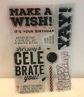 Simon Says Stamp BIG BIRTHDAY WISHES Party Greetings Clear Rubber Stamps Set Lot