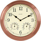 Analog Quartz Wall Clock Thermometer Copper Indoor Outdoor Home Office Decor NEW