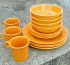 15 pc Fiesta Tangerine Place Setting 4 ea dinner plate salad soup bowl 3 mugs