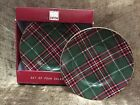 New 222 Fifth Set Of 4 Wexford Plaid Salad Plates 8.5