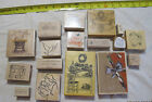 Huge Lot of 17 Wood and Rubber Stamp for Scrapbooking and Card Making