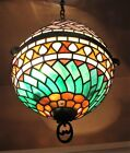 Very Fine Antique Stained Leaded Art Glass Ceiling Lamp SIGNED c 1910