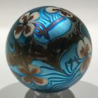 Early 1976 Orient Flume Art Glass Paperweight Iridescent Blue Floral Design