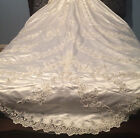 Vintage 1997 Shiny Satin Jade Wedding Dress Gown Long Train With Matching Veil