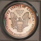 1990 American Silver Eagle Dollar ASE PCGS MS65 Stunning Rainbow Color Toned Gem
