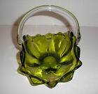 RETRO Avocado Green Epic Glass Basket Clear Applied Handle Sticker 1964-1970