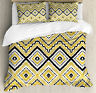 Gold and White King Size Duvet Cover Set Tribal Design with 2 Pillow Shams