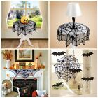 Halloween Lace Spider Round Web Tablecloth Fireplace Table Topper Covers Decor