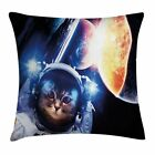 Space Cat Throw Pillow Case Supernova Eclipse Square Cushion Cover 20 Inches