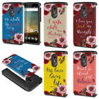 For ZTE N817 / QUEST UHURA Quotes Design Fusion Hybrid Silicone Case Cover Skin