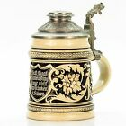 Marzi & Remy #928 Antique Lidded Mug German Beer Stein - Art Nouveau with saying