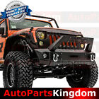 Front Bumper+Fog Light Hole+Built in Winch Plate+Cover Fit 07 17 Jeep JK Wrangle