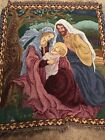 Nativity Tapestry Throw Blanket Fringe 48x57 Flawed Lap Mary Joseph Jesus