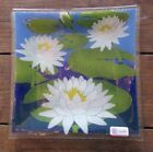 Vintage 2005 Peggy Karr Art Glass Lily Pad Square Serving Plate Painted