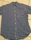 Mens Tommy Hilfiger Jeans Blue Check Plaid Vintage Shirt Short Sleeve S S Large