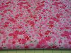 4 Yards Cotton Quilting Fabric Pink Roses  Flowers on Pink Background