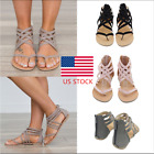 US Womens Rome Gladiator Flip Flops Flats Zip Knitted Casaul Sandals Shoes Size