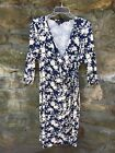 WOW Career BLUE White FLORAL Faux Wrap Stretch Dress EAST Size 16 Gently Worn
