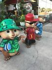 LIFE SIZE STATUES OF ALVIN AND THE CHIPMUNKS - OVER 4FT TALL - CHIPWRECKED
