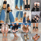 Womens Sandals Flat Wedge Strappy Espadrilles Peep Toe Beach Flip Flops Shoes