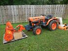 Kubota B7100 Compact Tractor 4x4 with 48 in Snow Blower Woods Rear 59 inch Mower