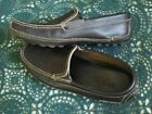 9M MINNETONKA MOCCASIN Mens Brown Leather Slip On Moccasin Loafer Shoes