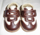 PEDOODLES Brown Cream Genuine Leather Baby Shoes Trainers 8 12 months NIB