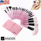 VANDER 22Pcs Youth Lovely Pink Soft Beauty Makeup Brushes Kit +Pink Leather Case