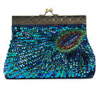 Antique Beaded Sequin Turquoise Sunburst Clutch Handbag Purse Green