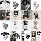 2pcs Newborn Toddler Kids Boy Girl Baby T shirt Top Clothes + Pants Outfit Set