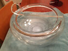 Contemporary Art Glass Punch Bowl Curled Rim