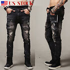 Mens Vintage Distressed Ripped Frayed Jeans Fit Motorcycle Zip Skinny Denim Pant