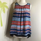 New Daniel Rain Multi Color Striped Sleeveless Top Size Large NWT