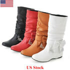 US Womens Shoes Black Leather Flat Heel Round Toe Knee High Slouch Boots Winter
