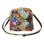 Leather Purse Patchwork  Floral Appliques Cross Body Bag