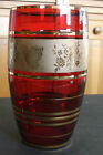 Beautiful Old RUBY RED GLASS VASE with Gold Details Butterflies