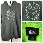 Boys Quiksilver Hoodie Gray Lime Green Lined Size M 10 12