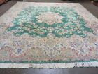 10' X 9' Hand Made Persian Royal Ivory Kirman Kerman Wool Rug Carpet Square