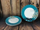 222 Fifth Avenue Boxed Set 4 Dinner Plates Eliza Teal Pattern Turquoise Paisley