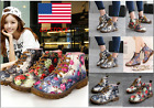 Womens Floral Lace Up DrMartens Retro Ankle Boots Casual Low Block Heel Shoes
