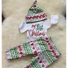 Newborn Kid Baby Boy Girl 1st Xmas Clothes Jumpsuit Romper 3pcs Outfits Set Gift