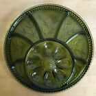 Green Indiana Glass Egg Plate Tree Of Life Relish Tray 1950s 13 inch