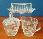 Anchor Hocking EAPC Prescut Glass Vintage Serving Set with Cream Sugar Butter