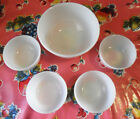 Vintage SET 5 ANCHOR HOCKING Fire King White Milk Glass Custard BOWLS Oven Proof