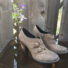 Indigo by Clarks Size 75 Brown Leather Nubuk Buckled Heeled Bootie