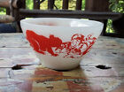 Fire King Oven Ware Davy Crockett Milk Glass Cereal Bowl~ with RED Decals